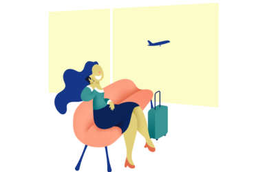 woman in airport on cellphone - free vector illustrations