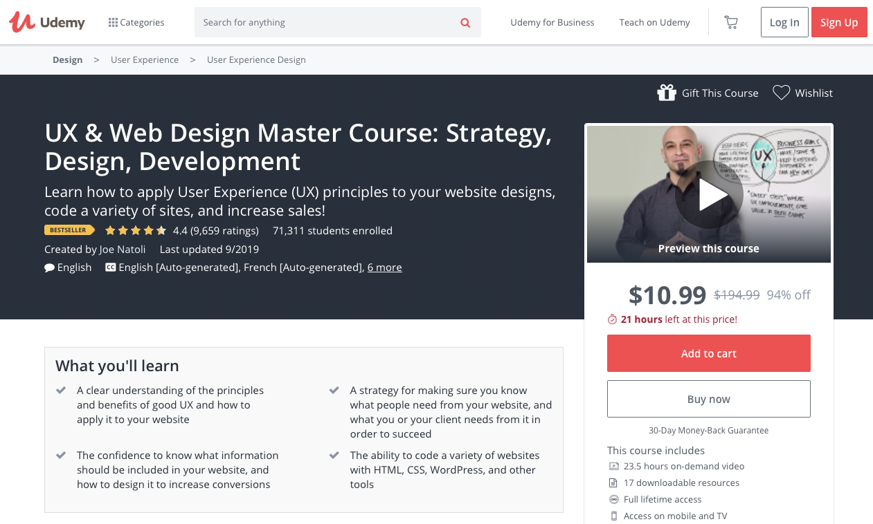UX & Web Design Master Course: Strategy, Design, Development - online courses