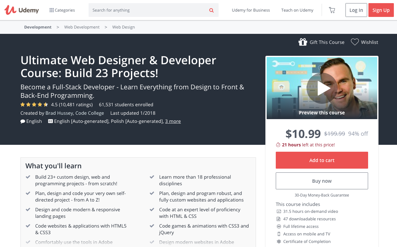 Ultimate Web Designer & Developer Course: Build 23 Projects! - online courses