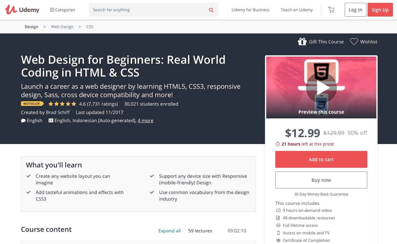 Web Design for Beginners: Real World Coding in HTML & CSS - online courses