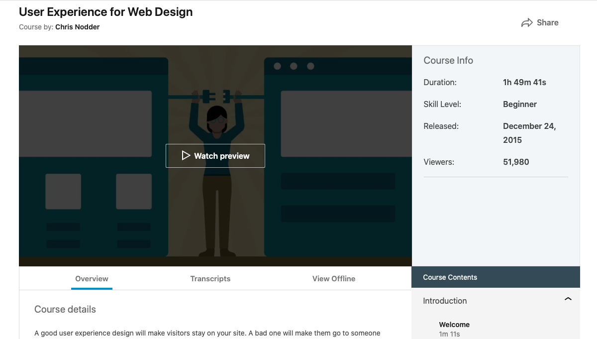 User Experience for Web Design - online courses