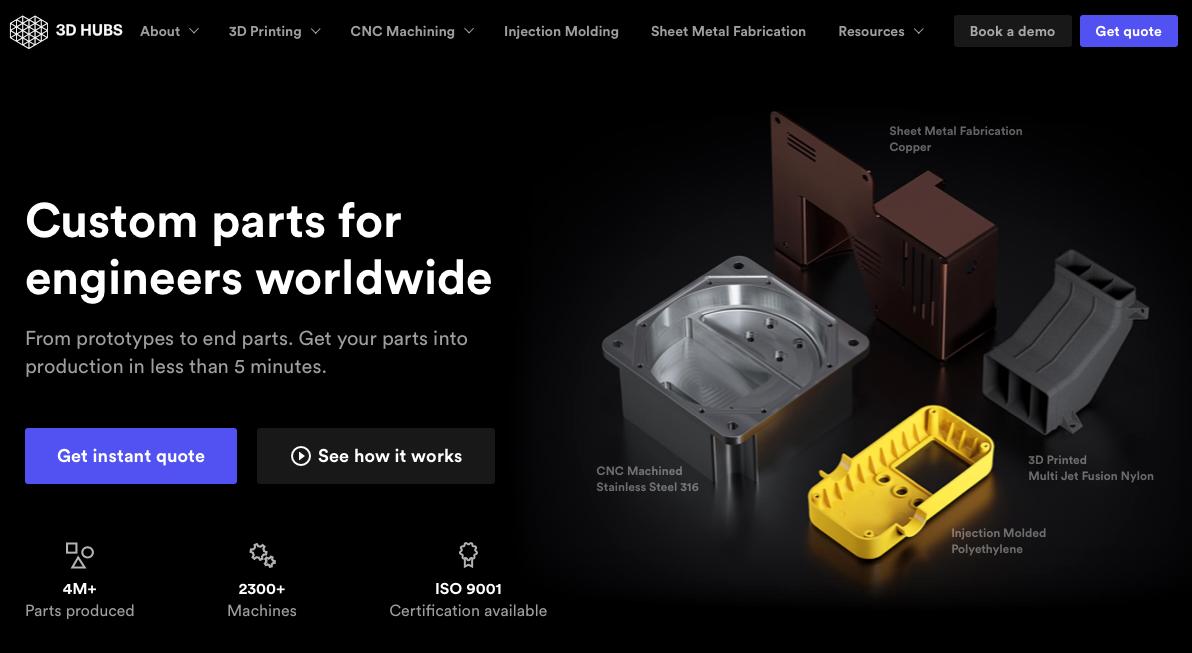 dark website designs - 3D Hubs