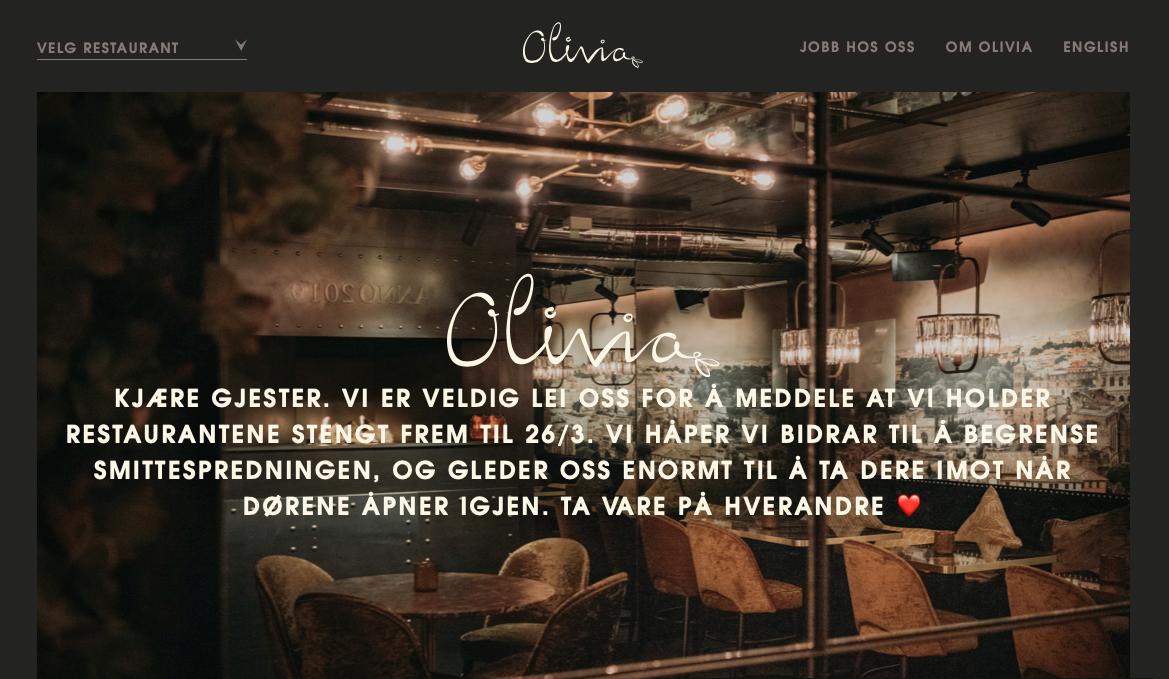 dark website designs - Olivia Restaurant