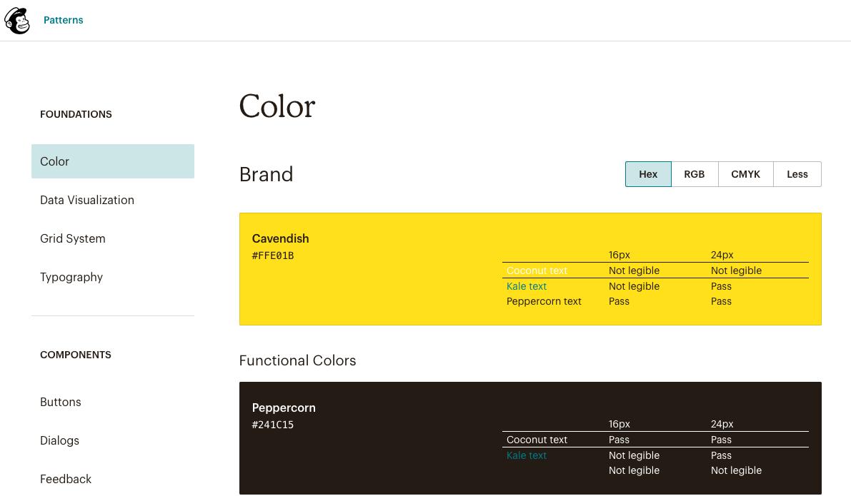 MailChimp - web design style guide