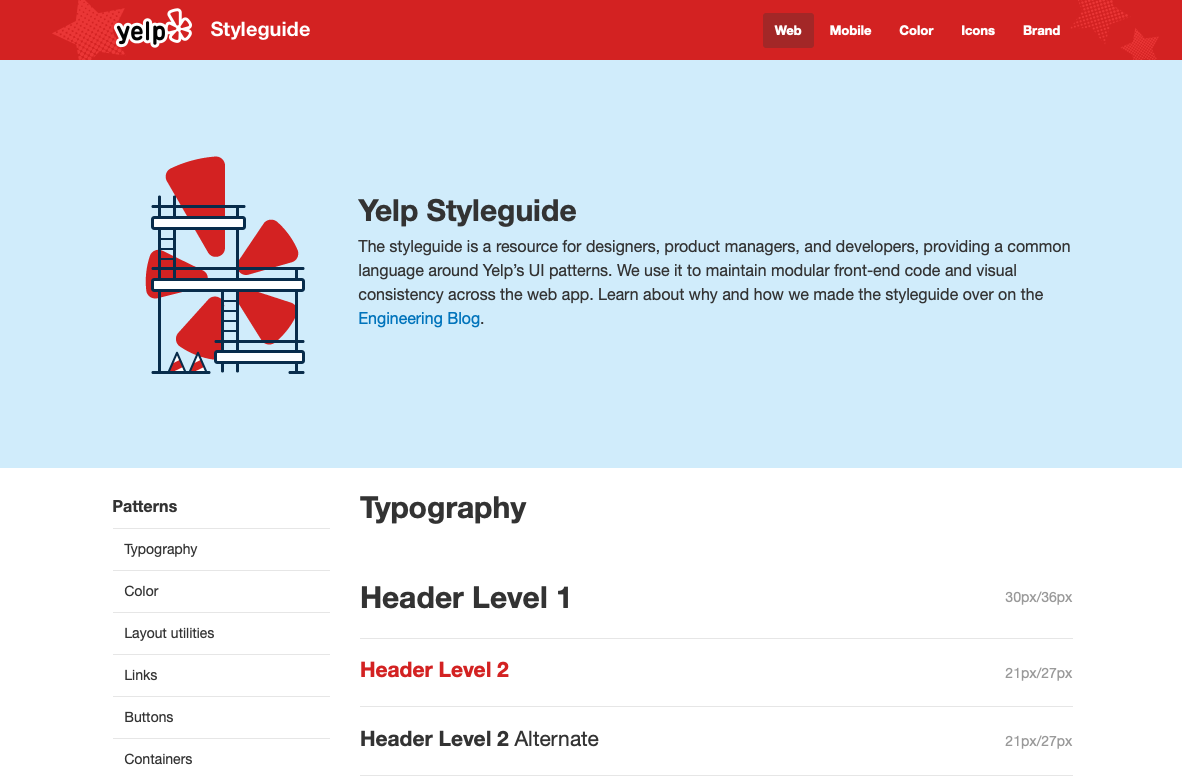 Yelp - web design style guide