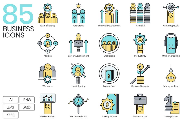 85 business icon set