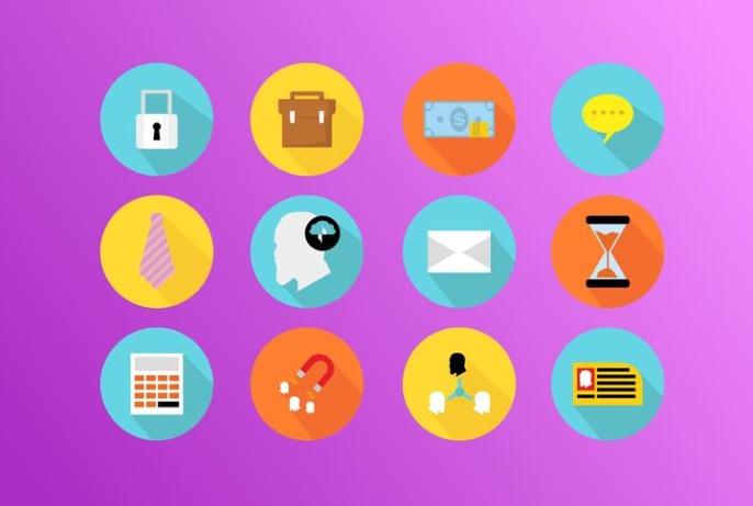 Colorful Flat Business Icon Set