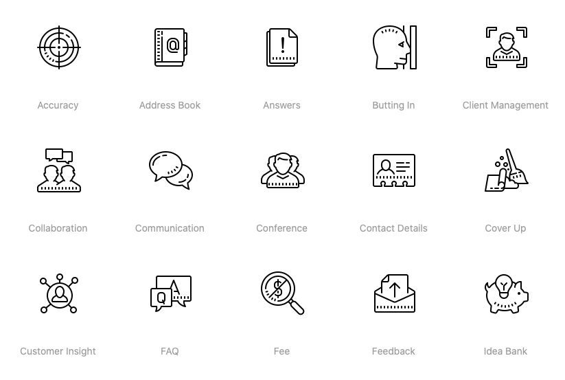 Business Icon Set - Cute Outline Icons of Business