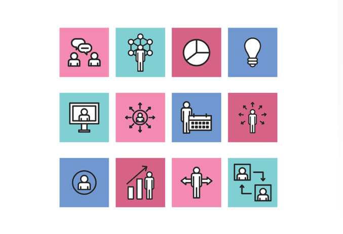 Business Icon Set - Outlined Business Icons