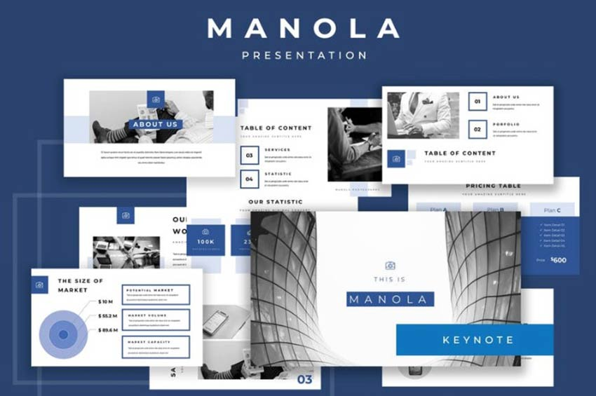 Example of Manola Pitch Deck Keynote Presentation