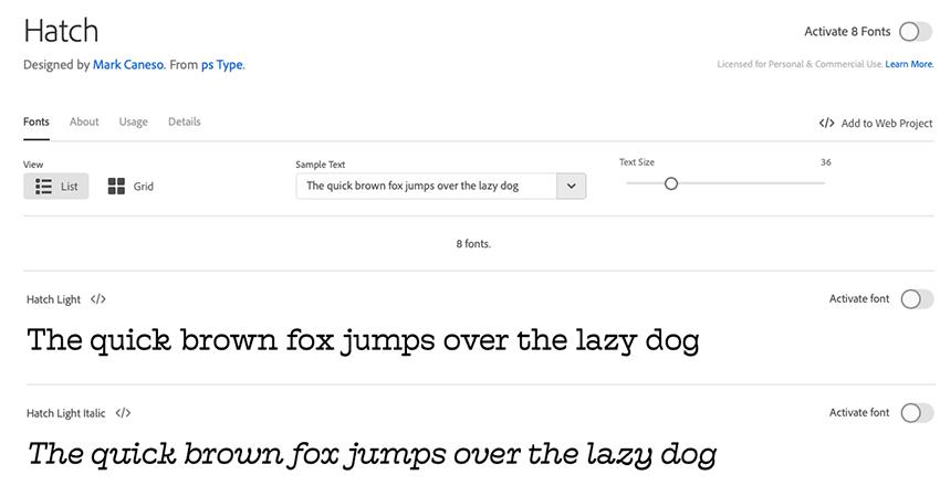 Adobe Fonts screen