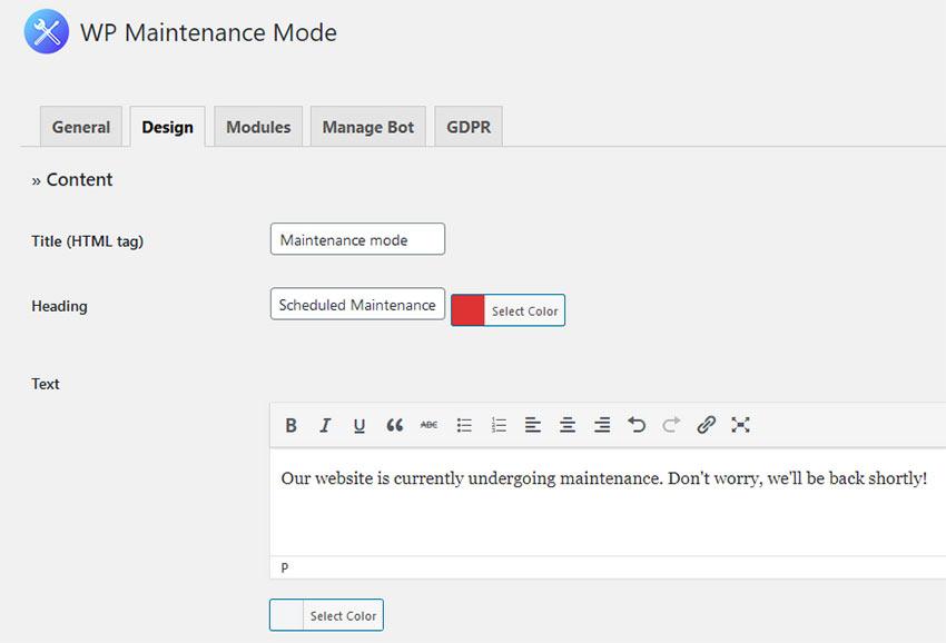 The WP Maintenance Mode Design screen.