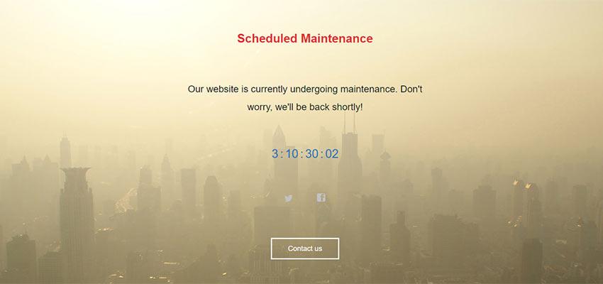 A website in maintenance mode.