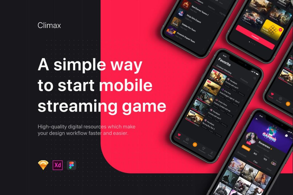 Climax - Live Game Streaming UI Kit - UX and UI kits