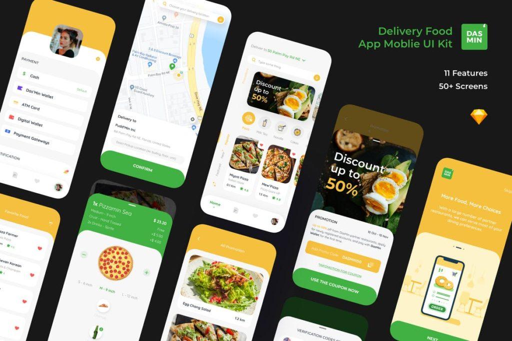 Dasmin Delivery Food App Mobile Ui kit - UX and UI kits