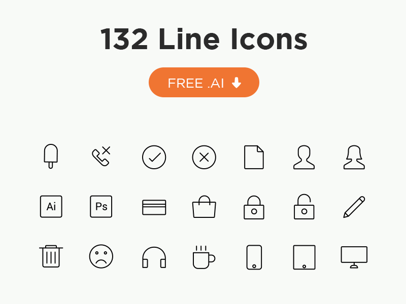Free Minimal Icon Sets - 132 Line Icons