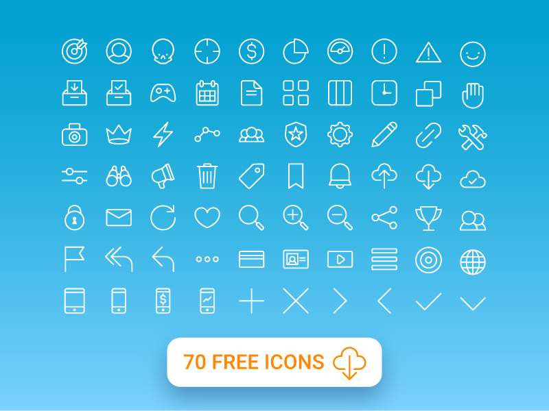 Free Minimal Icon Sets - 70 Free All Purpose Line Icons