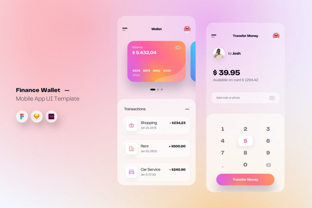 Wallet & Finance Mobile App UI Kit Template - UX and UI kits