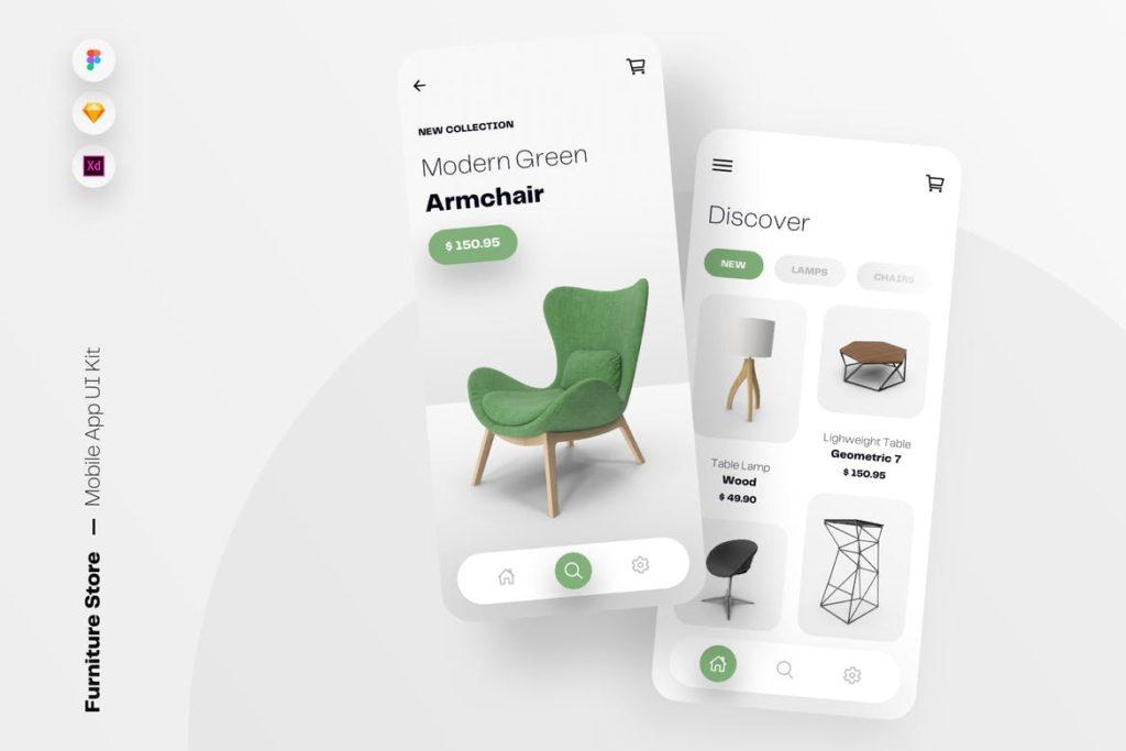 Furniture Store Mobile App UI Kit Template - UX and UI kits