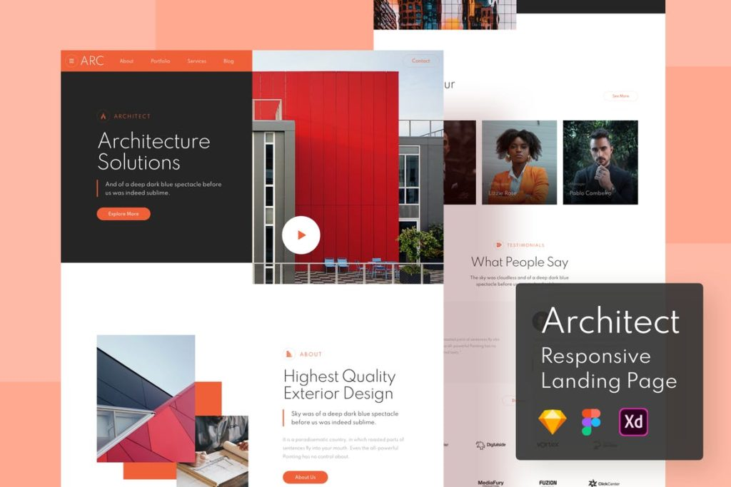 Architect Responsive Landing Page - UX and UI kits