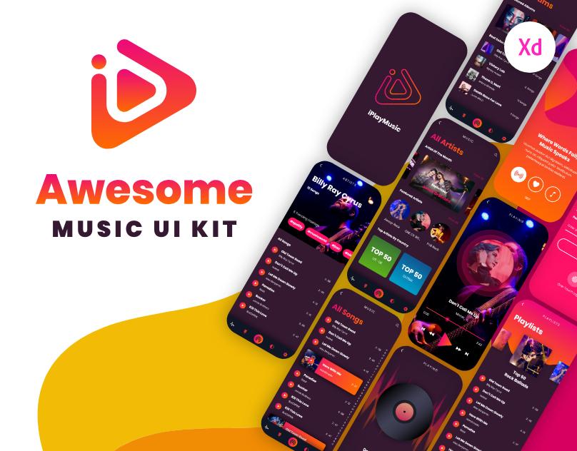 iPlayMusic - A Free Awesome Music App UI Kit - UX and UI kits