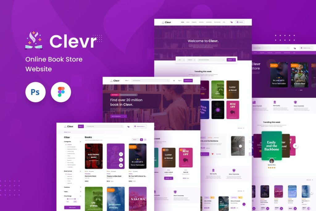 Clevr - Book Store Ecommerce Website Template - UX and UI kits
