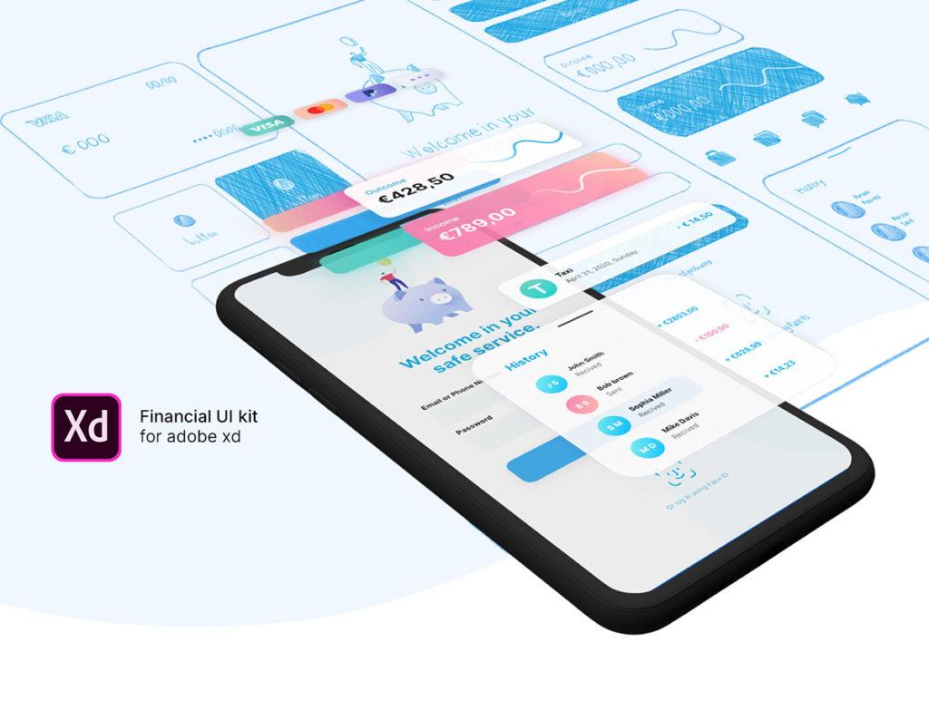 Financial UI Kit for Adobe XD