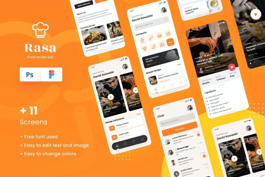 Rasa - Food Recipe iOS App Design UI Template - UX and UI kits