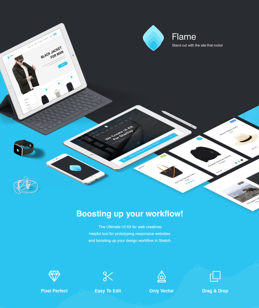 Flame UI Kit for Sketch (FREE)