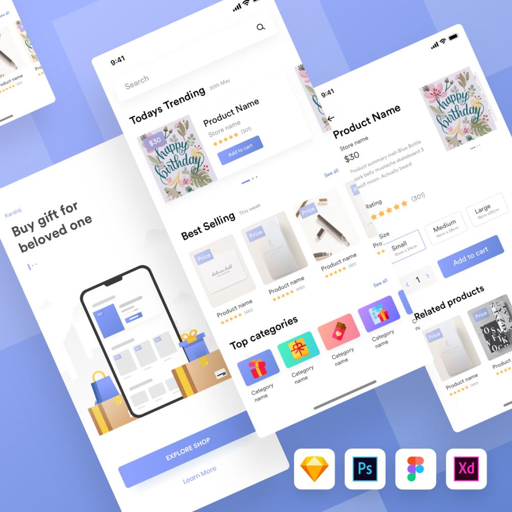 Karamtaj Gift shop UI kit - UX and UI kits