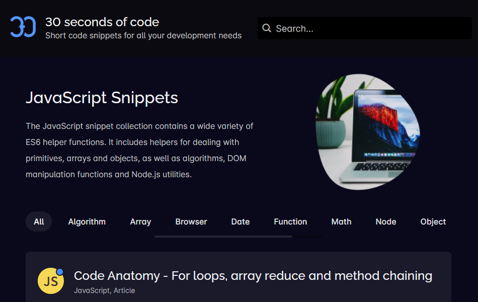 30 seconds of code - JavaScript snippets