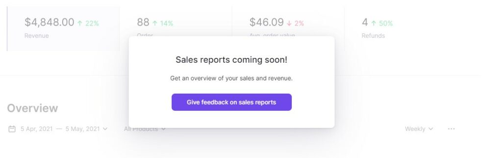 Sales reports coming soon