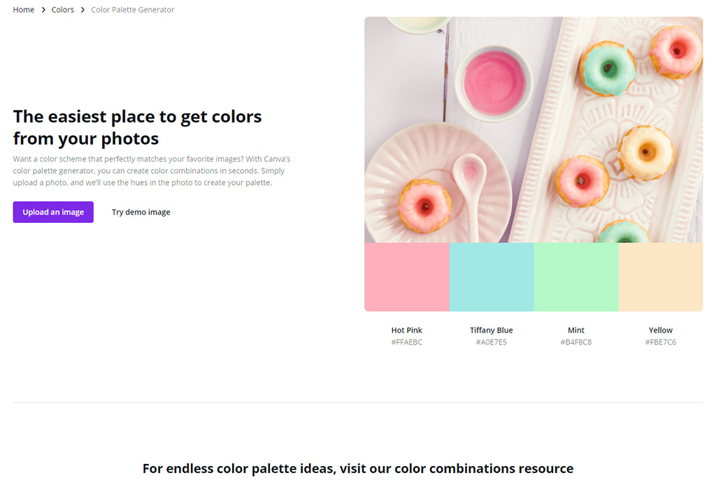 Canva - color palette generator